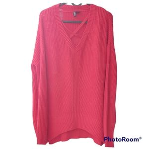 Free people women's red sweater. Size Medium. Christmas color